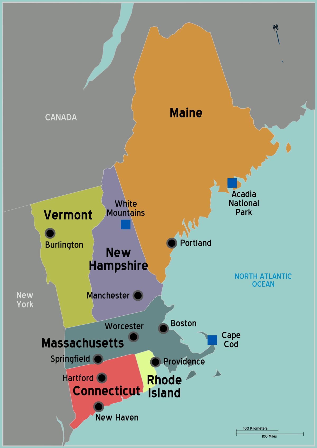 New England Travel Guide At Wikivoyage - New england map us