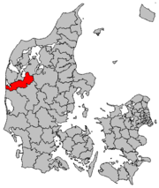 Holstebro [left edge] is north of Herning and west of Viborg, on Denmark's Jutland peninsula.