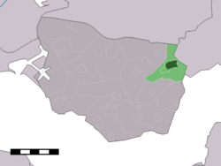 The town centre (dark green) and the statistical district (light green) of 's-Gravenpolder in the municipality of Borsele.