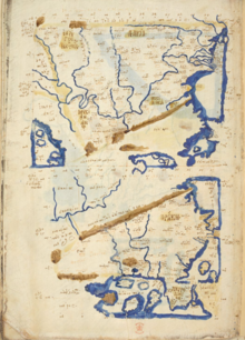 An ancient map of Dacia showing land in tan, mountains in brown, and water in blue.