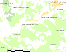 Mapa obce Saint-Pantaly-d'Excideuil