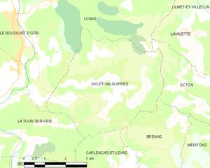 Dio-et-Valquières - Map