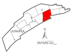 Map of Juniata County, Pennsylvania highlighting Delaware Township