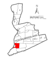 Map of Northumberland County, Pennsylvania highlighting Jackson Township