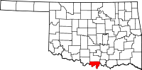 Map of Oklahoma highlighting Love County