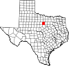 State map highlighting Palo Pinto County