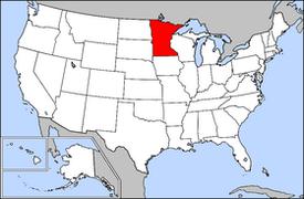 Map of USA highlighting Minnesota