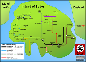 Sodor (fictional island) - The Island of Sodor Railway in the style of Harry Beck (click to enlarge).