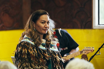 MP Marama Davidson at Matai Ara Nui Marae Marama Davidson's marae and whanau celebrates her appointment of co-leader in 2018.jpg