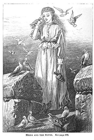 """The Marble Faun - Illustration featuring """"Hilda and the doves"""", 1888"""