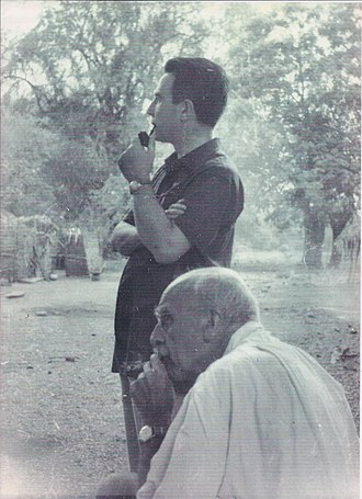J. B. S. Haldane - Marcello Siniscalco (standing) and Haldane in Andhra Pradesh, India, 1964