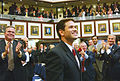 Marco Rubio looks up to his family upon selection as House Speaker, with Gov. Jeb Bush at left and Charlie Crist two people behond Bush.jpg