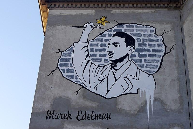> Marek Edelman, soldat de l'insurrection du ghetto de Varsovie. Street art en hommage.