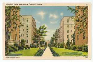 Marshall Field Garden Apartments - Postcard of the apartments