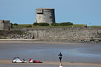 Martello Tower on Red Island in Skerries, from The Strand at low tide.jpg