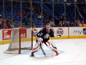 Martin Biron - Martin Biron in goal for Buffalo during the 2005-06 season
