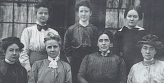 Maryknoll - Founder Mary Josephine Rogers, second from right in the front row, with the first 'Teresians' - front row: Mary Louise Wholean, Anna Maria Towle, Sara Sullivan; Back Row: Mary Augustine Dwyer, Nora Shea, Margaret Shea, at Maryknoll in 1913.