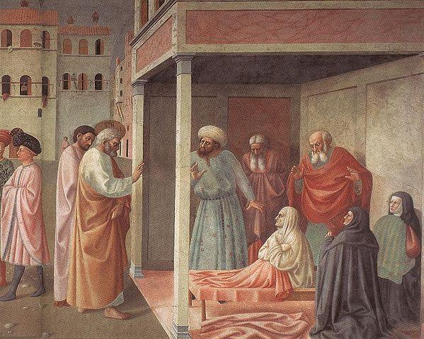 Апостол Пётр, воскрешающий Тавифу (фреска Мазолино в капелле Бранкаччи)