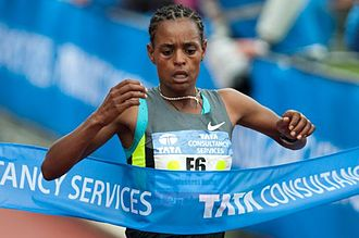 Amsterdam Marathon - Meseret Hailu winning the 2012 women's race in new course record