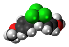 Ball-and-stick model of the methoxychlor molecule