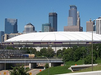 Hubert H. Humphrey Metrodome - New roof in early August 2011
