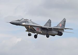 Polish Air Force checkerboard - Checkerboard on a Mikoyan MiG-29 of the Polish Air Force