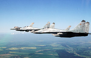 944th Fighter Wing - 944th FW F-16s with German MiG-29s over Denmark, 1996