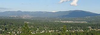 Mica Peak - Mica Peak, Idaho (left) and Mica Peak, Washighton (right) as viewed from Eagle Peak in Spokane County.