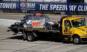 Michael McDowell (racing driver) - McDowell's car on the tow truck after the crash