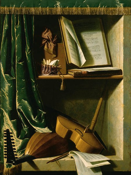 File:Michel Boyer - A Trompe L'oeil of a Lute, a Viol and a Recorder, with books of Music in a curtained stone Niche.jpg