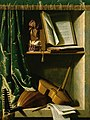 Michel Boyer - A Trompe L'oeil of a Lute, a Viol and a Recorder, with books of Music in a curtained stone Niche.jpg