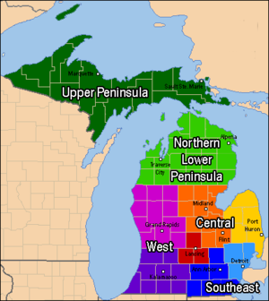 Lower Peninsula of Michigan - Michigan regions, including the Upper Peninsula and the four principal regions of the Lower Peninsula.