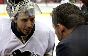 Mike Bales - Bales working with Penguins goaltender Fleury during a game in 2016.