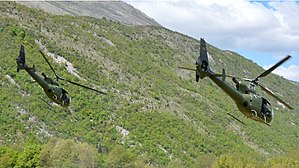 Montenegrin Air Force - A pair of SA342 helicopters on lift off