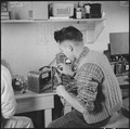 Minidoka Relocation Center, Minidoka, Washington. Radio repair shop. M. Sekijima. - NARA - 536538.tif