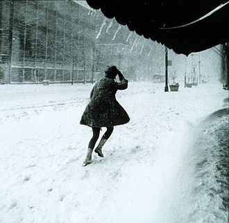 John Lindsay - A street in New York City during the storm. This scene is in Manhattan, 1969.
