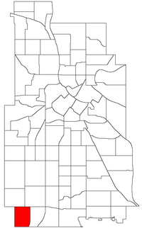 Location of Armatage within the U.S. city of Minneapolis