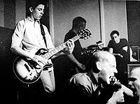 Minor Threat, a young hardcore punk band, onstage