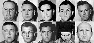 Murders of Chaney, Goodman, and Schwerner - Lynch Mob; Top Row, L-R: Cecil R. Price, Travis M. Barnette, Alton W. Roberts, Jimmy K. Arledge, Jimmy Snowden. Bottom Row, L-R: Jerry M. Sharpe, Billy W. Posey, Jimmy L. Townsend, Horace D. Barnette, James Jordan.