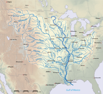 Main stem - The Mississippi River drainage basin with the main stem highlighted in dark blue