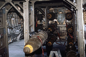 Bomb bay - Mark 82 500lb bombs in a B-52G's conventional bomb bay.