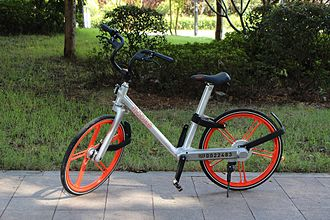 "Mobike - A Classic Mobike showing its identification number. Here the smaller ""020"" means a bike assigned to Guangzhou, Guangdong."