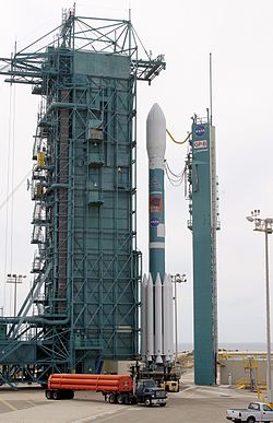 Mobile Service Tower rolls over the Delta II on SLC-2W.jpg