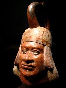 Moche σκάφος πορτραίτο, Musée du Quai Branly, ca.  100-700 CE κανάτα κεφάλι