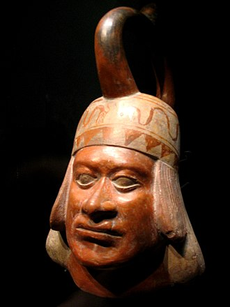 Ceramics of indigenous peoples of the Americas - Moche portrait vessel, Musée du quai Branly, ca. 100—700 CE, 16 x 29 x 22 cm