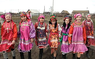 Mordvins - Moksha girls in traditional costumes