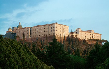 Abbey of Monte Cassino, originally built by Saint Benedict, shown here as rebuilt after World War II Monte Cassino Opactwo 1.JPG