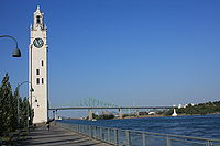 Montreal Clock Tower and Jacques Cartier Bridge01.JPG