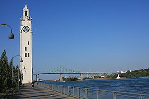 Montreal Clock Tower - The tower and Jacques Cartier Bridge