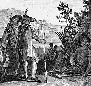 "Slavery in the British and French Caribbean - This scene depicts Voltaire's Candide and Cacambo meeting a maimed slave near Suriname. The caption says, ""It is at this price that you eat sugar in Europe"". The slave that utters the remark has had his hand cut off for getting a finger stuck in a millstone, and his leg removed for trying to run away."